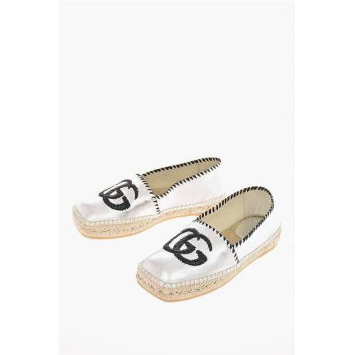 Gucci Metallic Soft Leather Monogram Espadrilles Größe 37,5
