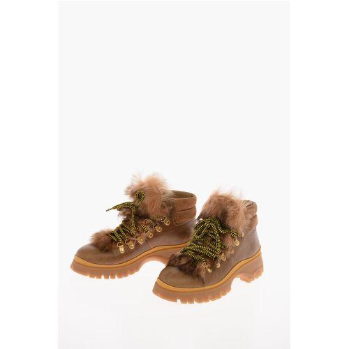 Prada Sheepskin Hiking Boots with Track Sole Größe 38,5