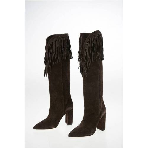 Paris Texas Suede Knee High Texan Boots with Fringes 10cm Größe 36,5