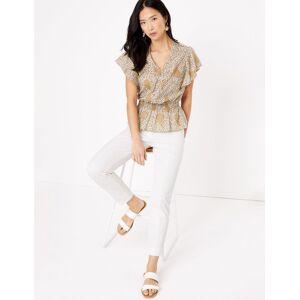 Marks & Spencer Taillierte Bluse aus reiner Baumwolle mit V-Ausschnitt und Paisley-Muster - Creme - EU 40