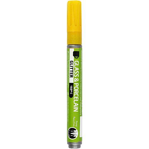 Packlinq Glas- und Porzellanmalstift, Strichstärke: 2-4 mm, Gelb, Glitzer-halbdeckend, 1Stck.