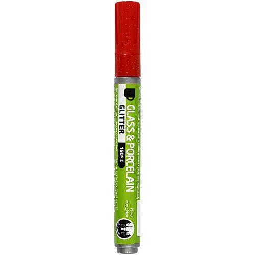 Packlinq Glas- und Porzellanmalstift, Strichstärke: 2-4 mm, Rot, Glitter - halbdeckend, 1Stck.