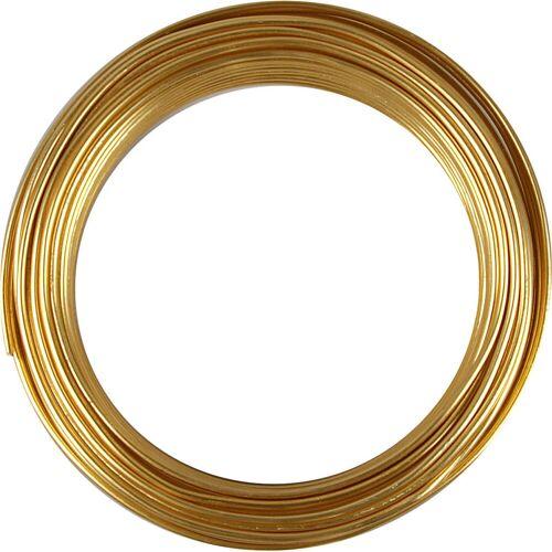 Packlinq Aluminiumdraht, Stärke: 3 mm, Gold, rund, 29m