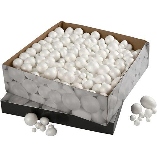 Packlinq Styropor-Kugeln und -Eier, Größe 1,5-6,1 cm, Weiß, Styropor, 550Stck.