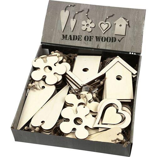 Packlinq Holzdekorationen zum Aufhängen, Größe 6,5-21,5 cm, Stärke: 5 mm, 100Stck.