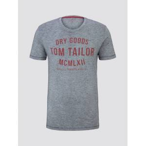 TOM TAILOR Herren T-Shirt mit Print, grau, unifarben mit Print, Gr.L