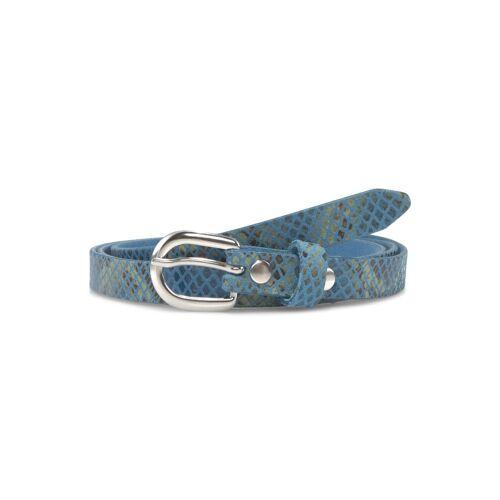 TOM TAILOR Damen Leder-Taillengürtel mit Schlangenprint, blau, Gr.95