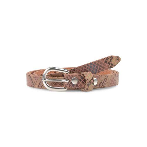 TOM TAILOR Damen Leder-Taillengürtel mit Schlangenprint, rosa, Gr.105