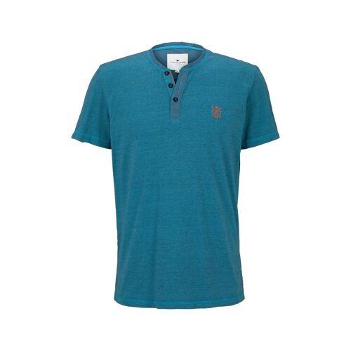 TOM TAILOR Herren Serafino T-Shirt mit Farbmusterung, blau, Gr.M