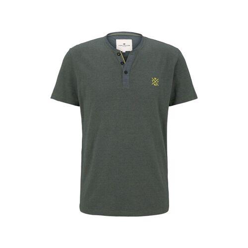 TOM TAILOR Herren Serafino T-Shirt mit Farbmusterung, grün, Gr.M