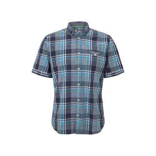 TOM TAILOR Herren Kariertes Kurzarmhemd mit Brusttasche, blau, kariert, Gr.S