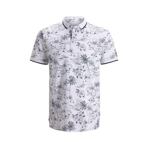 TOM TAILOR DENIM Herren Poloshirt mit tropischem Hawaii-Print, weiß, Gr.L