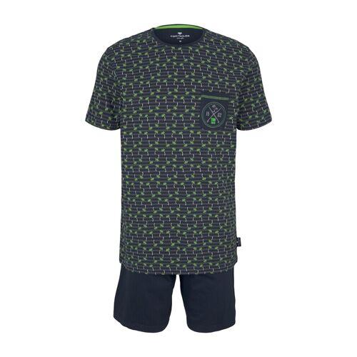 TOM TAILOR Herren Palmen Print Pyjama-Set, blau, Gr.54/XL
