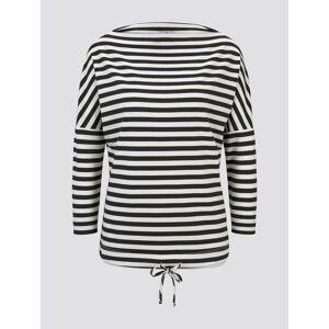 TOM TAILOR Damen Gestreiftes Sweatshirt mit U-Boot Ausschnitt, grau, Gr.XXXL