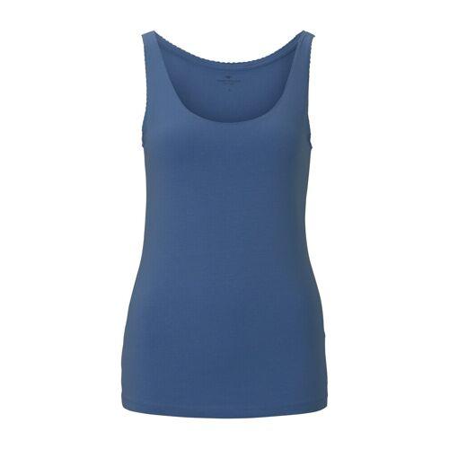 TOM TAILOR Damen Top mit Spitzenborte, blau, Gr.XL