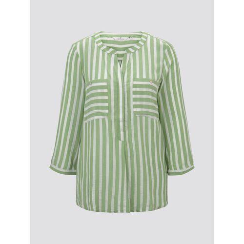 TOM TAILOR Damen Gestreifte Bluse mit Taschen, grün, gestreift, Gr.46
