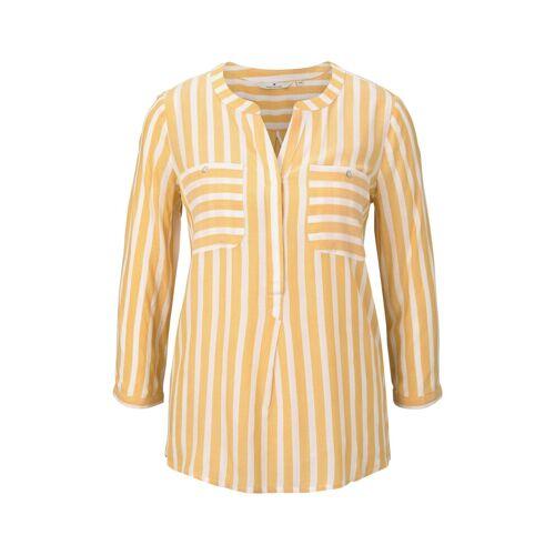 TOM TAILOR Damen Gestreifte Bluse mit Taschen, gelb, gestreift, Gr.40