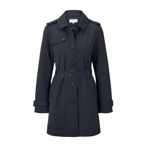 TOM TAILOR Damen Wasserabweisender Trenchcoat, blau, unifarben, Gr.XL