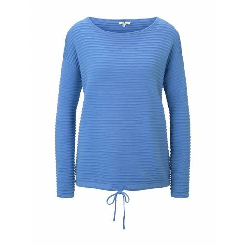TOM TAILOR Damen Strukturierter Pullover, blau, Gr.M