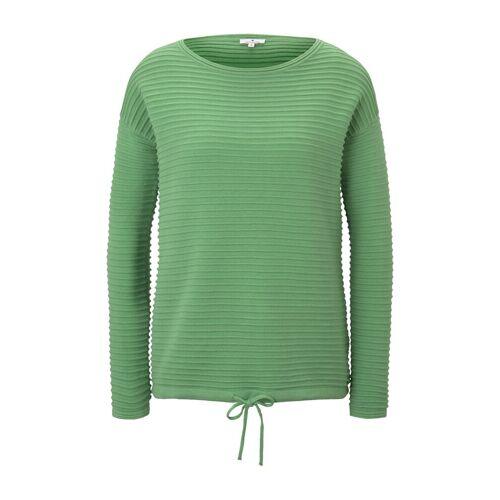 TOM TAILOR Damen Gestreiftes Sweatshirt, grün, Gr.M