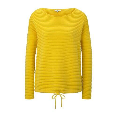 TOM TAILOR Damen Gestreiftes Sweatshirt, gelb, Gr.S
