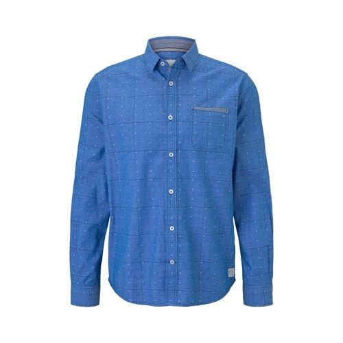 TOM TAILOR Herren Hemd im Muster-Mix, blau, gepunktet, Gr.L
