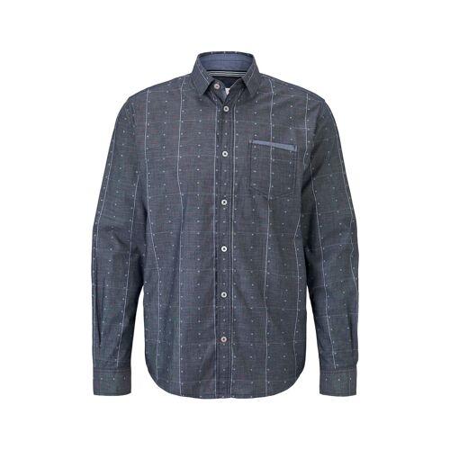 TOM TAILOR Herren Hemd im Muster-Mix, blau, gepunktet, Gr.XL