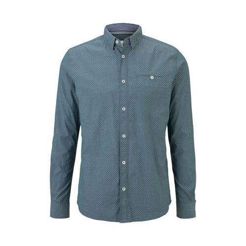TOM TAILOR Herren Gemustertes Hemd, blau, gemustert, Gr.XXL