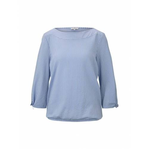 TOM TAILOR Damen Gestreiftes Blusenshirt, blau, gestreift, Gr.XS