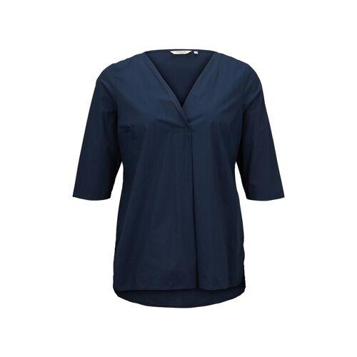 TOM TAILOR MY TRUE ME Damen Lockere Bluse mit Falte, blau, Gr.52