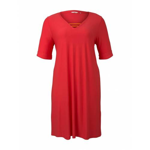 TOM TAILOR MY TRUE ME Damen Schlichtes Basic Kleid, rosa, Gr.44