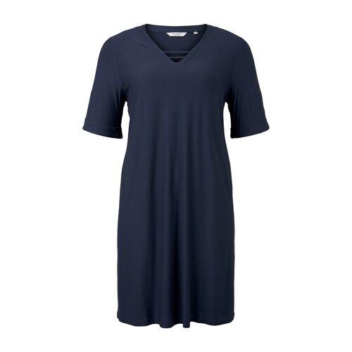 TOM TAILOR MY TRUE ME Damen Schlichtes Basic Kleid, blau, Gr.48
