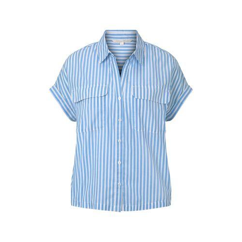 TOM TAILOR DENIM Damen Gestreiftes Blusenshirt im Boxy-Fit, blau, Gr.XL