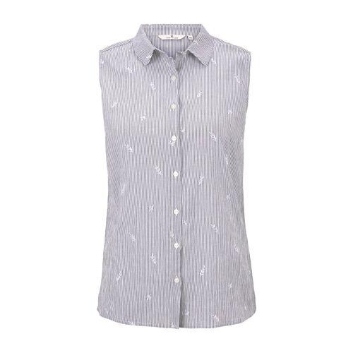 TOM TAILOR Damen Ärmellose Hemdbluse mit Stickereien, weiß, Gr.34