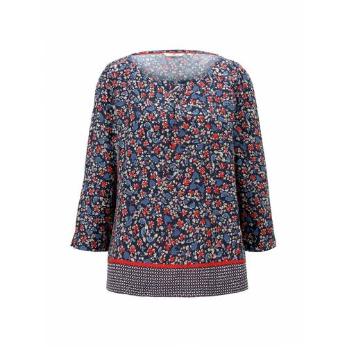 TOM TAILOR Damen 3/4-Arm Bluse mit Blumenprint, blau, Gr.36