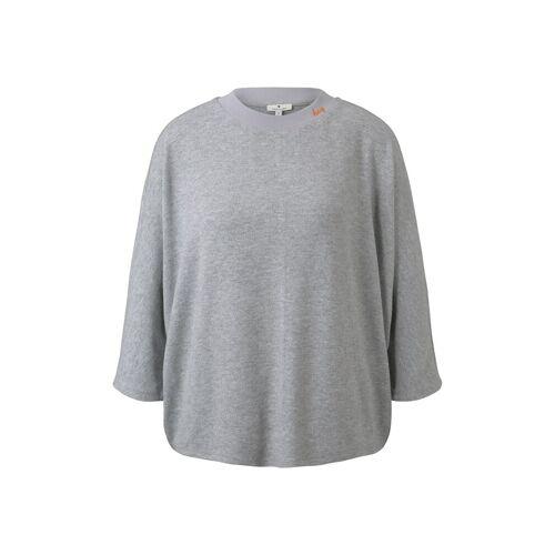 TOM TAILOR Damen Shirt mit Fledermausärmeln, grau, Gr.M