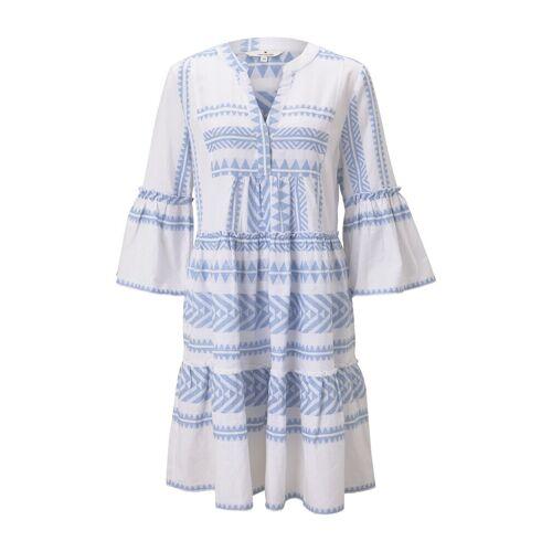 TOM TAILOR Damen Luftiges Boho-Kleid mit Volants, blau, Gr.38