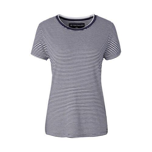 TOM TAILOR Damen Kurzes Nachthemd mit Streifen, blau, Gr.38