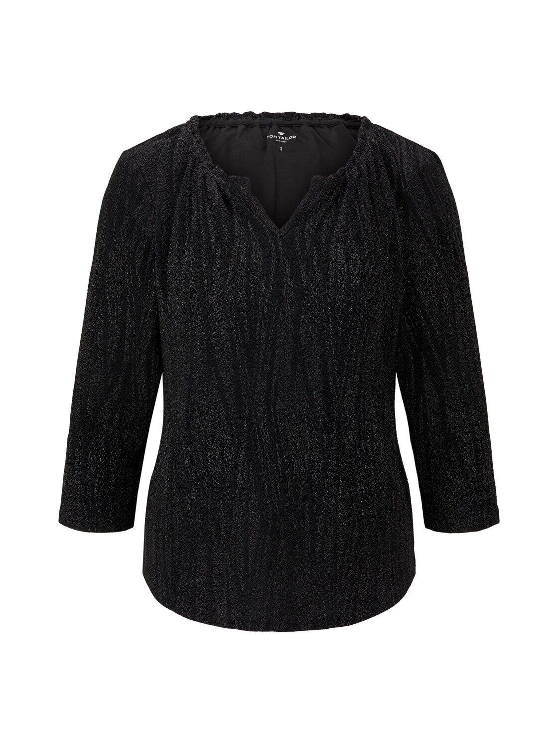 TOM TAILOR Damen Glitzer-Shirt in Crincle-Optik, schwarz, Gr.M