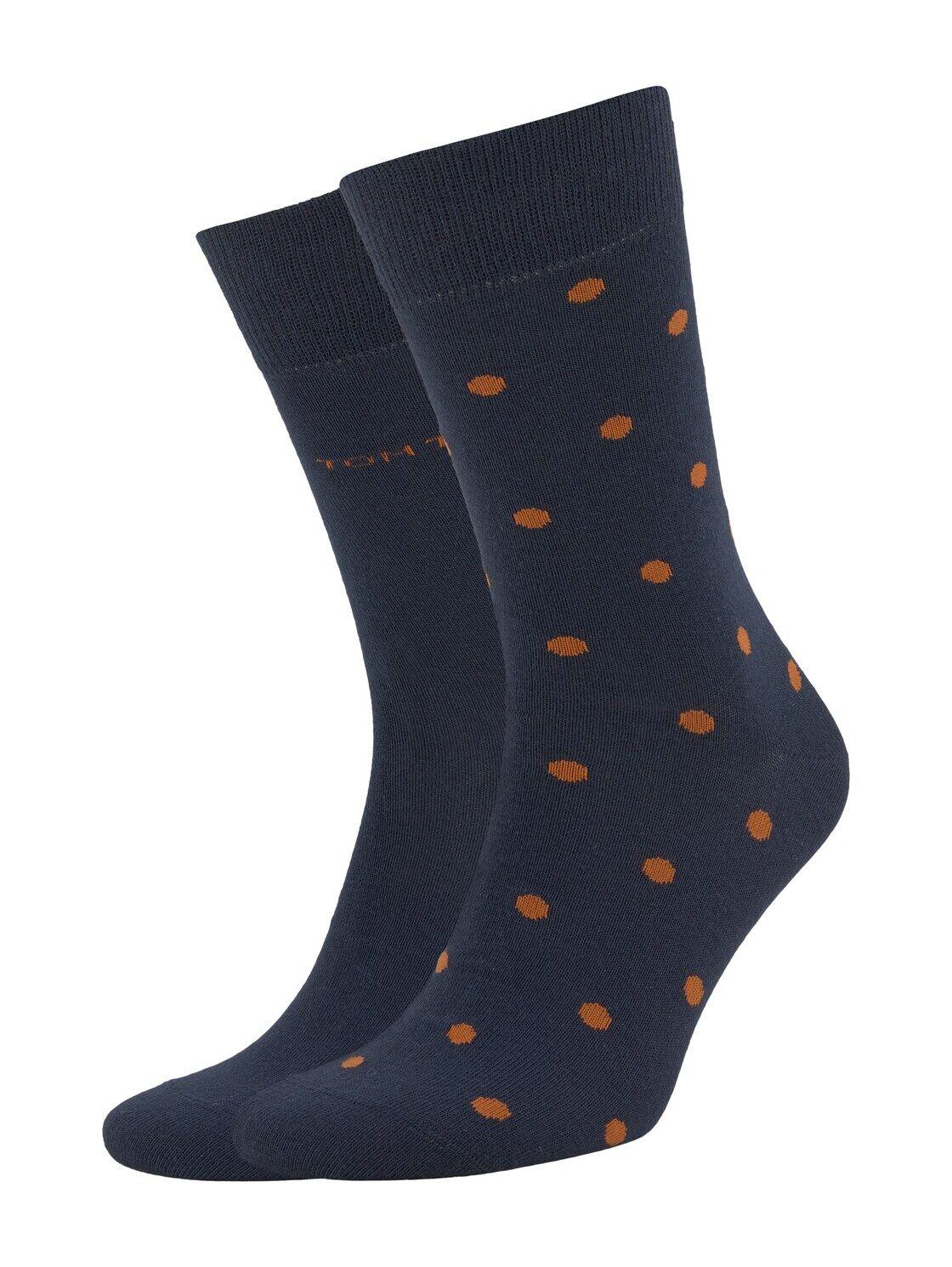 TOM TAILOR Herren Gepunktete Socken im Doppelpack, marine, Gr.43-46