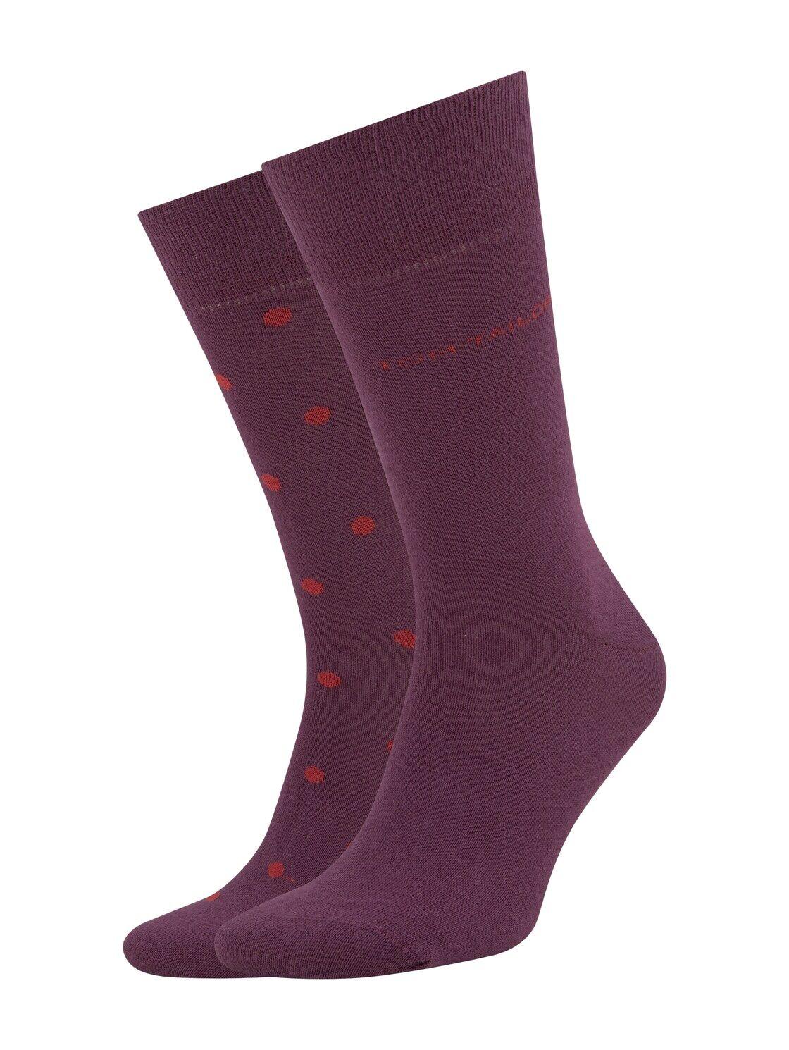 TOM TAILOR Herren Gepunktete Socken im Doppelpack, rot, Gr.39-42