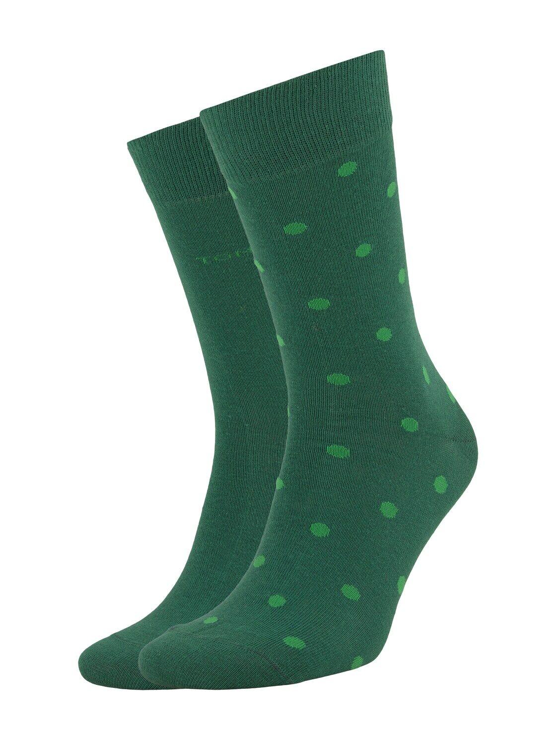 TOM TAILOR Herren Gepunktete Socken im Doppelpack, grün, Gr.43-46