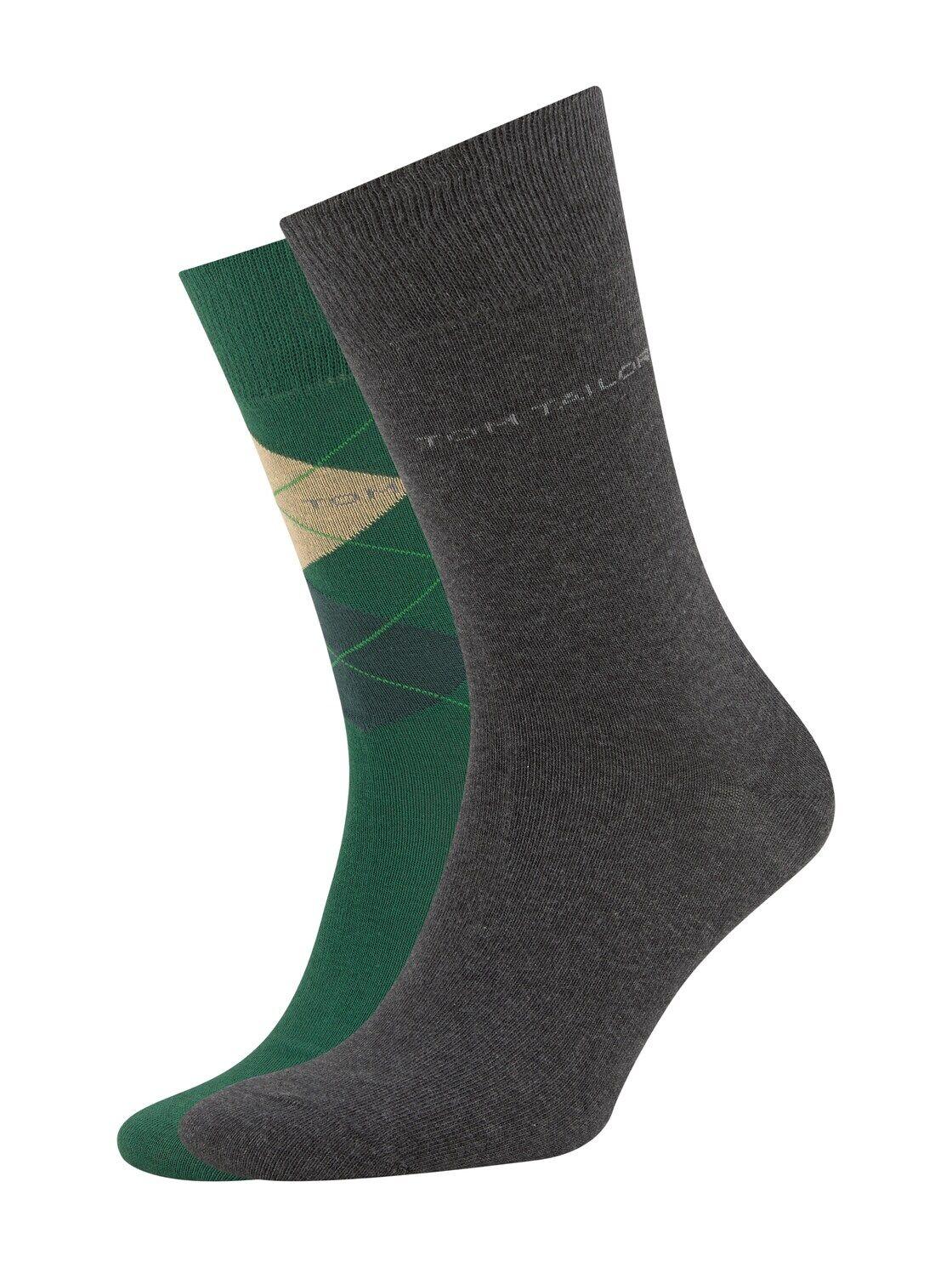TOM TAILOR Herren Socken im Doppel-Pack, grün, Gr.43-46