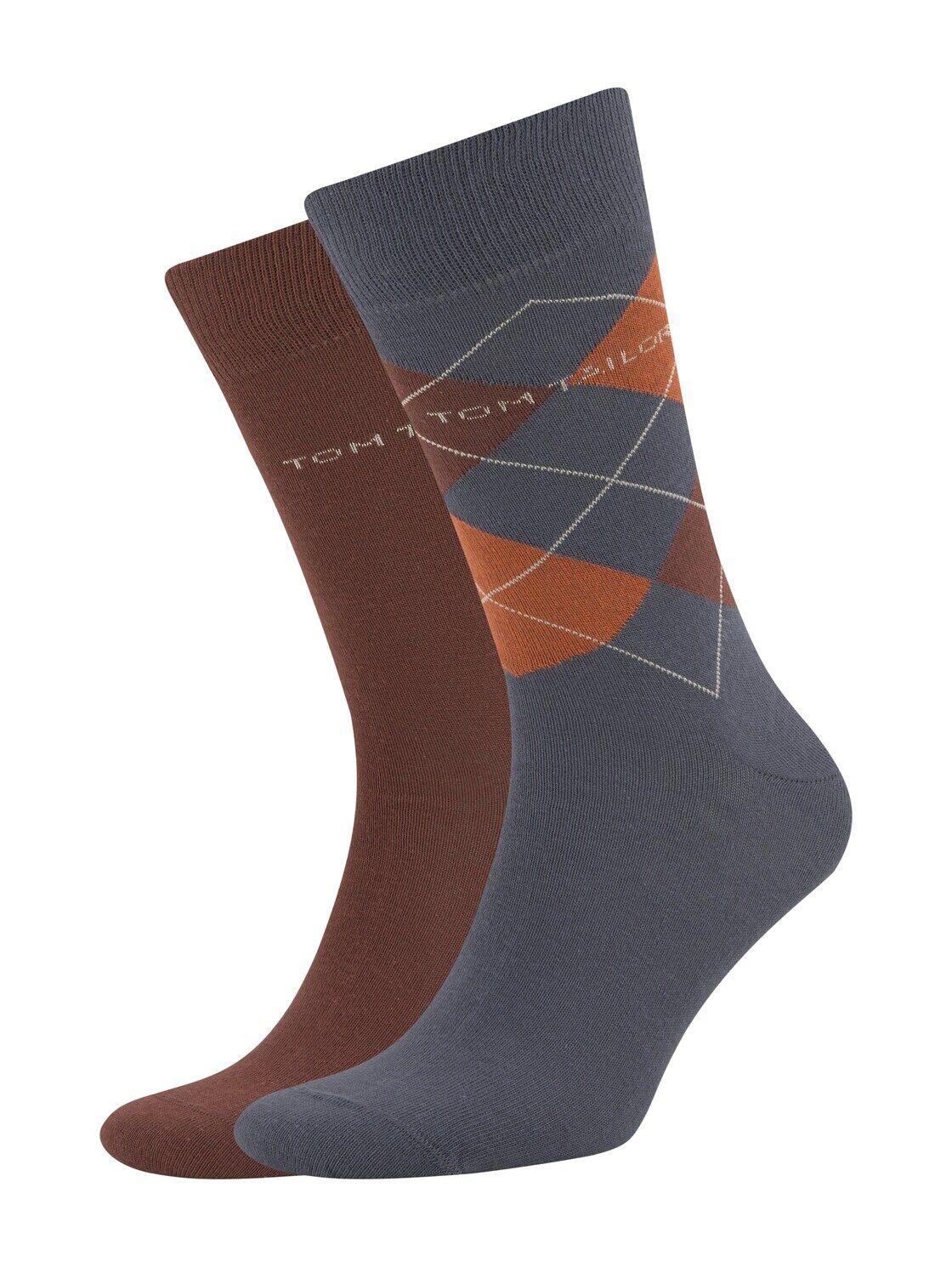 TOM TAILOR Herren Socken im Doppel-Pack, braun, Gr.43-46