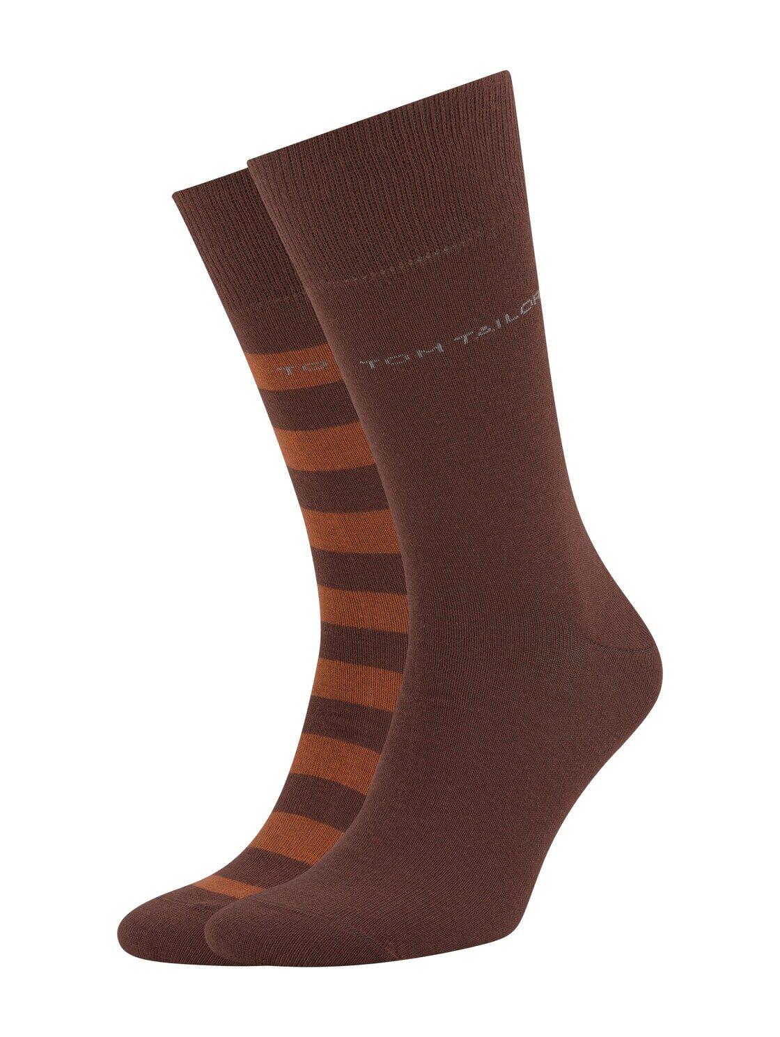 TOM TAILOR Herren Socken im Doppelpack, braun, Gr.39-42