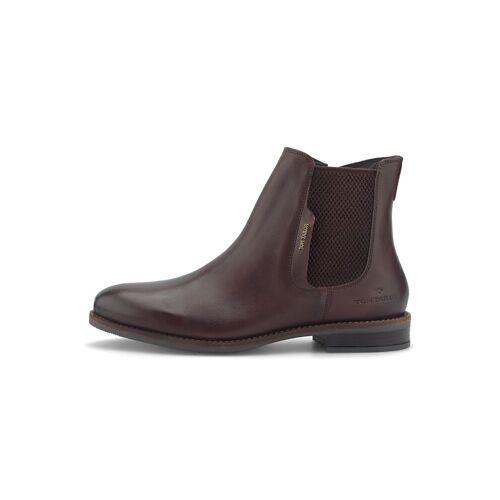 TOM TAILOR Damen Chelsea Boots aus Echtleder, braun, Gr.38