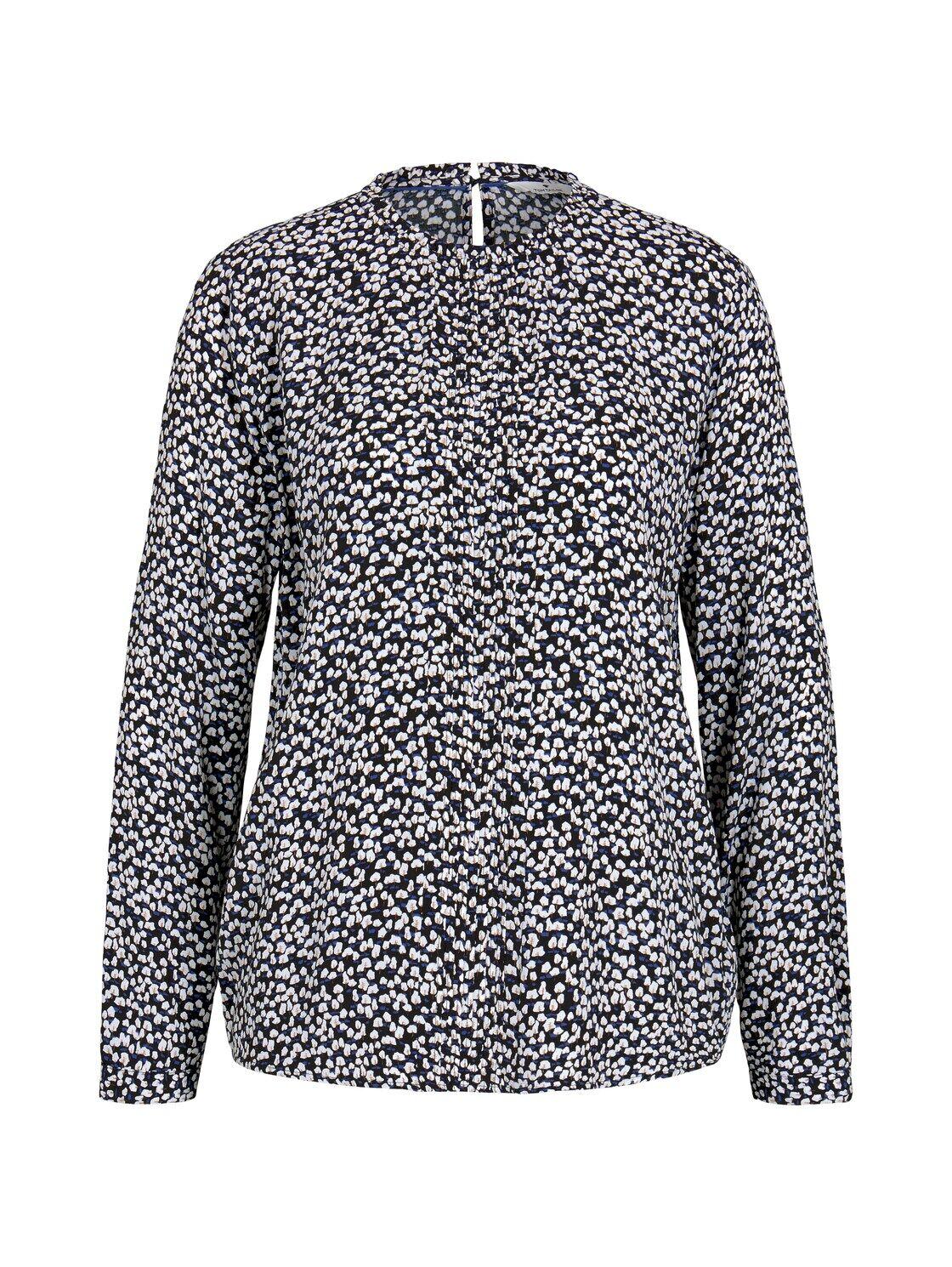 TOM TAILOR Damen Gemusterte Bluse mit Faltendetails, schwarz, Gr.44