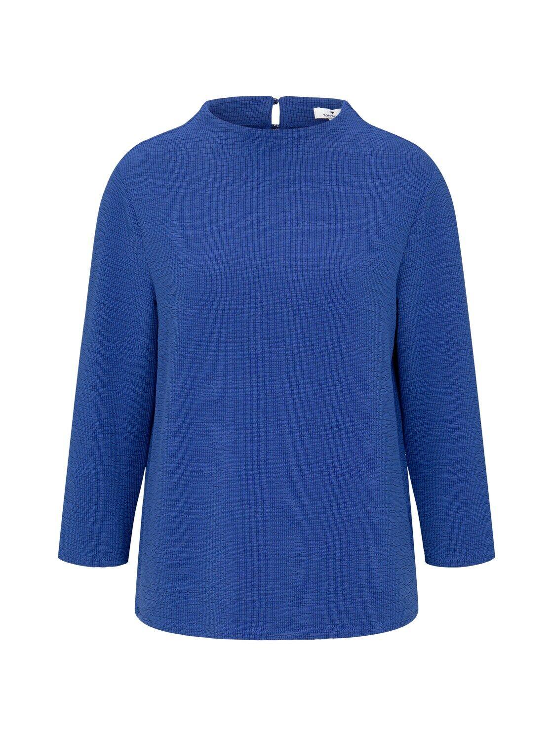 TOM TAILOR Damen Strukturiertes Stehkragen Shirt, blau, Gr.M