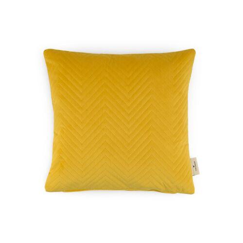 TOM TAILOR Unisex Kissenhülle aus Samt mit Ziczack-Steppung, gelb, Gr.40/40