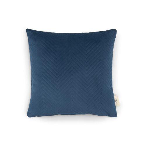 TOM TAILOR Unisex Kissenhülle aus Samt mit Ziczack-Steppung, blau, Gr.40/40